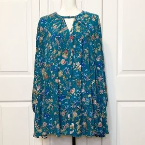 • Umgee Long Sleeve Teal Floral Tunic Blouse •